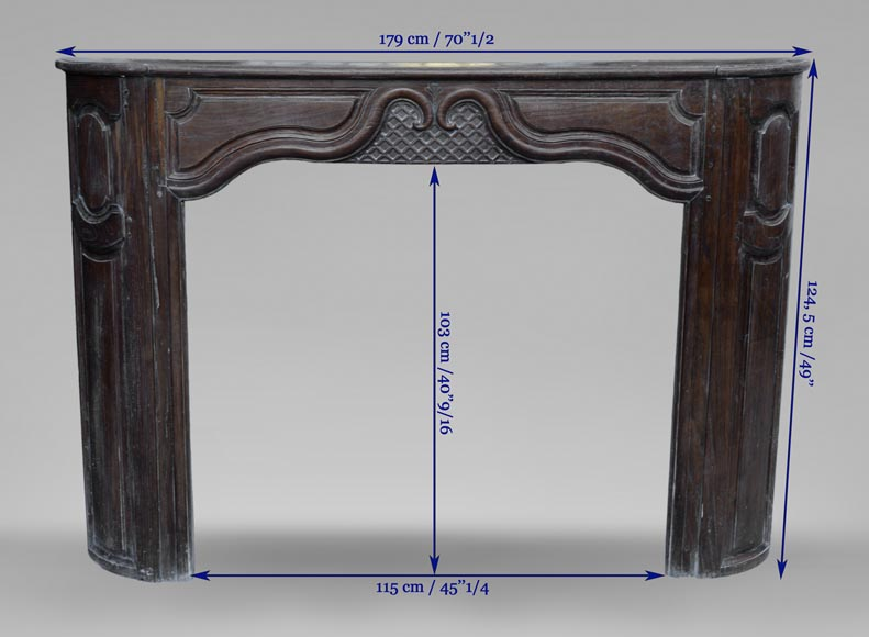 Large antique oak wood fireplace, Regence style, 1st half of the 19th c.-9