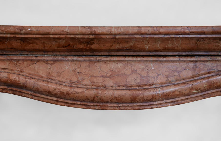 Regence style fireplace in Rosso Verona marble, early 20th century-1