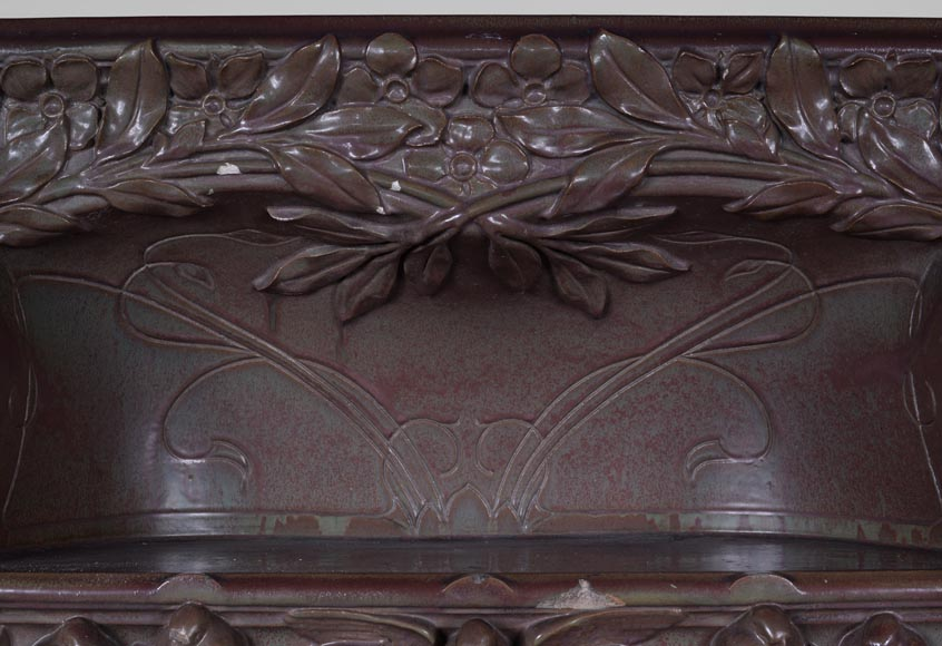 Rare antique Art Nouveau stoneware Fireplace decorated with sparrows-5