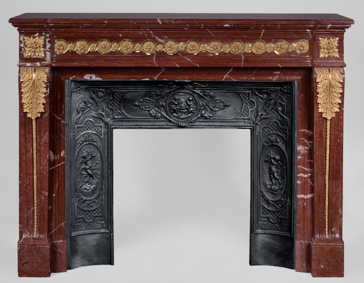 Antique Louis XVI style fireplace made of Ancient Red marble with gilt bronze rosettes and acanthus leaves -0