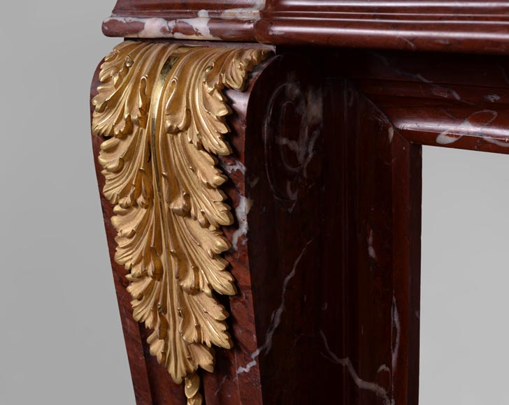 Antique Louis XVI style fireplace made of Ancient Red marble with gilt bronze rosettes and acanthus leaves -5