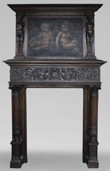 Antique Neo-Renaissance fireplace in oak with a painting with two putti-0