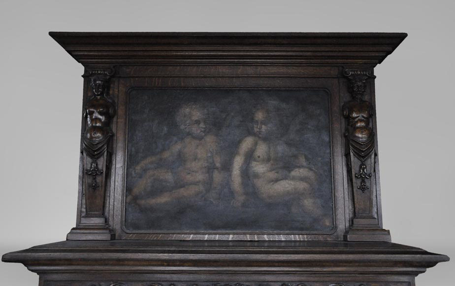 Antique Neo-Renaissance fireplace in oak with a painting with two putti-1