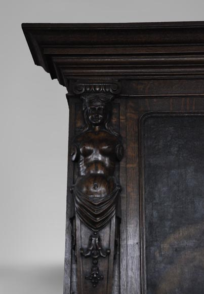 Antique Neo-Renaissance fireplace in oak with a painting with two putti-3