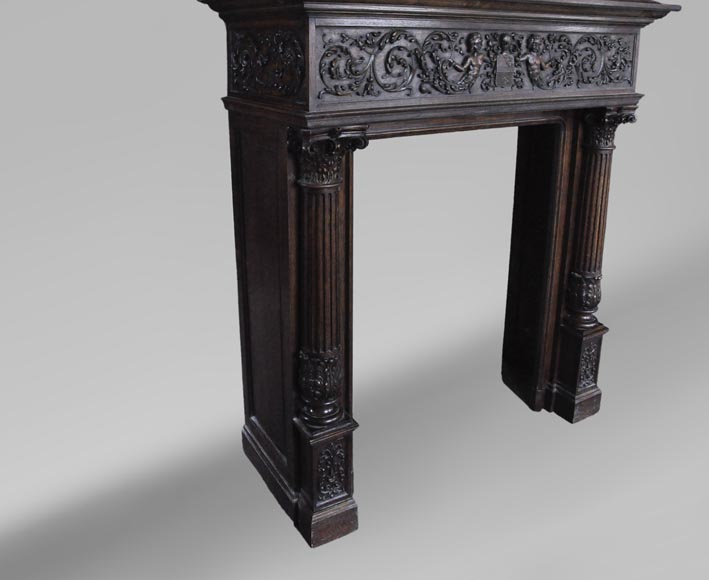 Antique Neo-Renaissance fireplace in oak with a painting with two putti-6