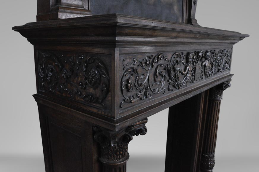 Antique Neo-Renaissance fireplace in oak with a painting with two putti-7