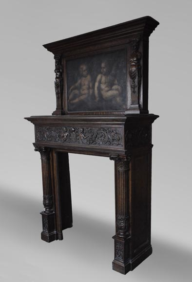 Antique Neo-Renaissance fireplace in oak with a painting with two putti-8
