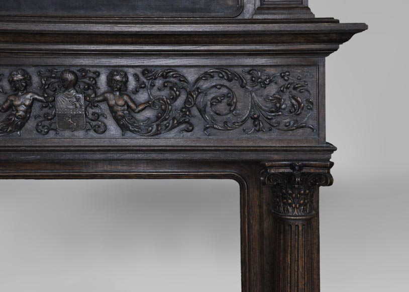 Antique Neo-Renaissance fireplace in oak with a painting with two putti-9