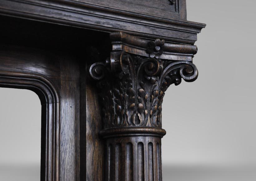 Antique Neo-Renaissance fireplace in oak with a painting with two putti-10