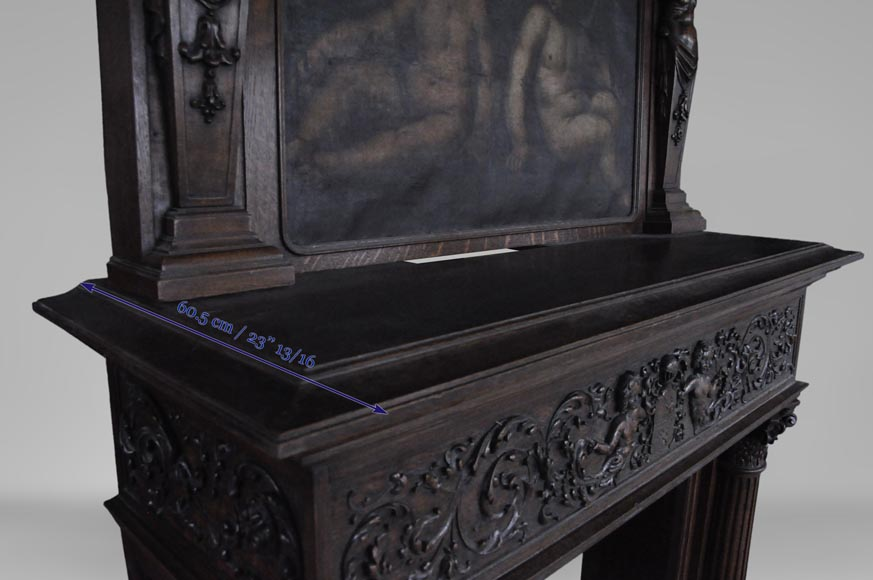 Antique Neo-Renaissance fireplace in oak with a painting with two putti-12