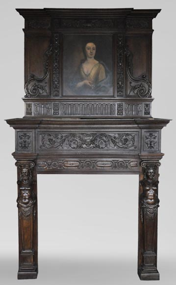 Antique Neo-Renaissance fireplace in oak with a portrait of woman-0