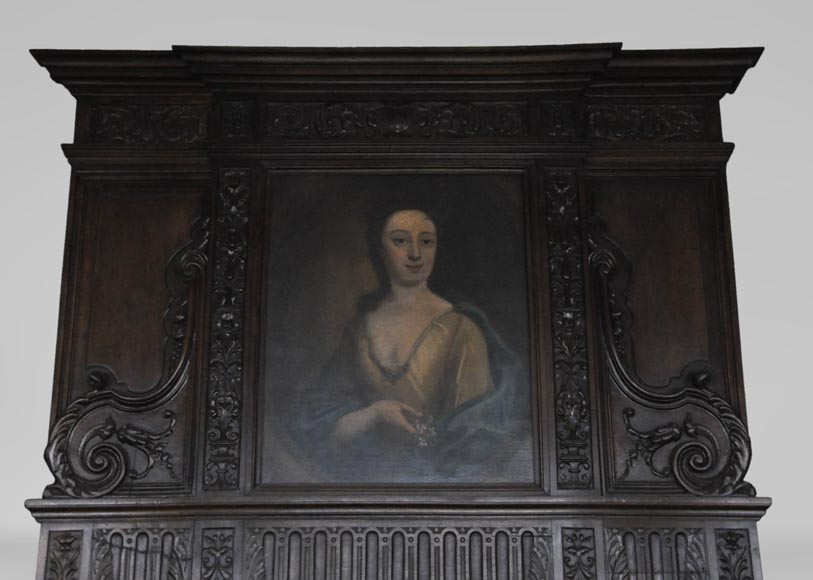 Antique Neo-Renaissance fireplace in oak with a portrait of woman-1