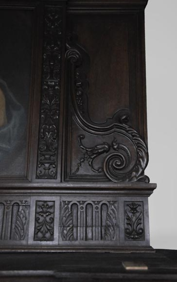 Antique Neo-Renaissance fireplace in oak with a portrait of woman-3