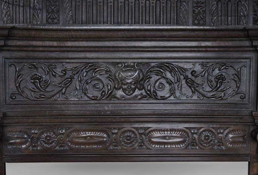 Antique Neo-Renaissance fireplace in oak with a portrait of woman-4