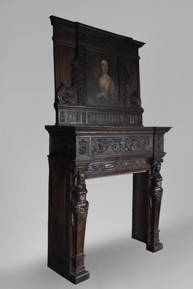Antique Neo-Renaissance fireplace in oak with a portrait of woman-5