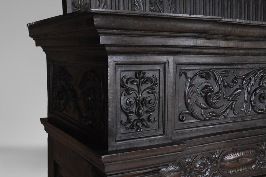 Antique Neo-Renaissance fireplace in oak with a portrait of woman-6
