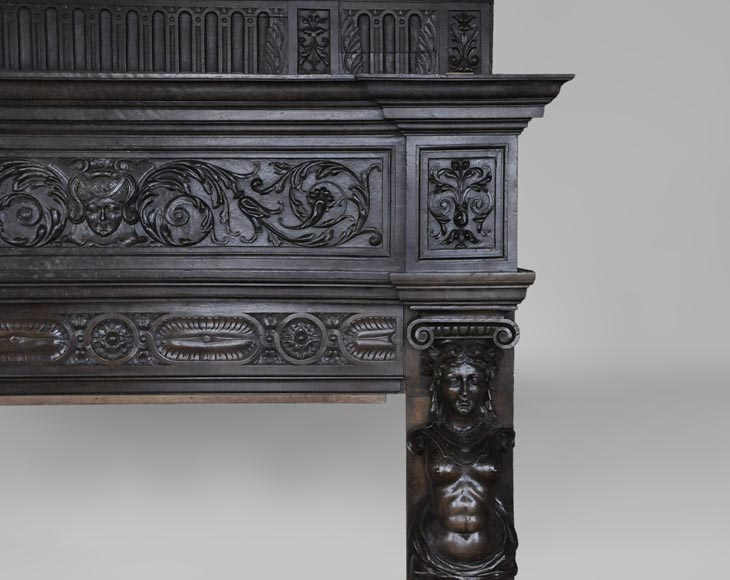 Antique Neo-Renaissance fireplace in oak with a portrait of woman-8