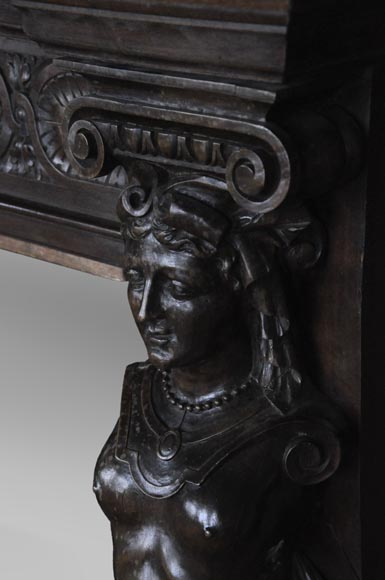 Antique Neo-Renaissance fireplace in oak with a portrait of woman-9