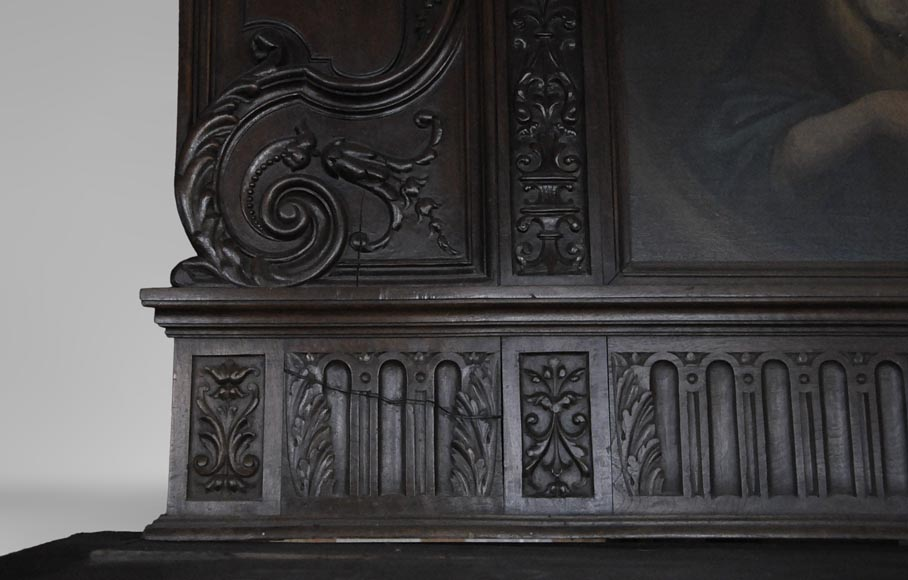 Antique Neo-Renaissance fireplace in oak with a portrait of woman-10