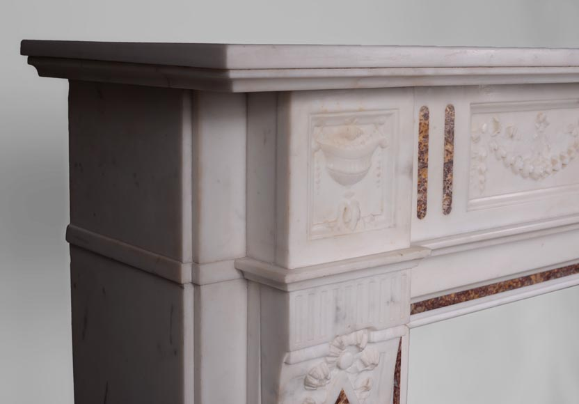 Beautiful Victorian style antique fireplace with garlands and diamonds in Carrara Statuary marble and Violet Brocatelle marble, late 19th century-3