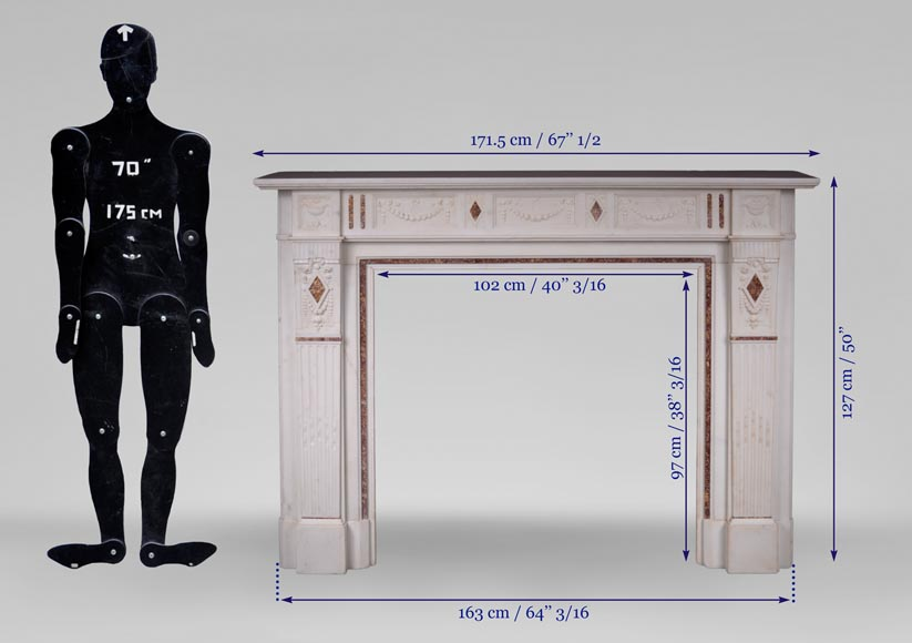 Beautiful Victorian style antique fireplace with garlands and diamonds in Carrara Statuary marble and Violet Brocatelle marble, late 19th century-11