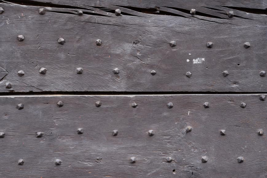Rare antique door in oak wood with nails, 18th century-2