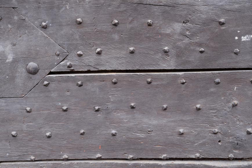 Rare antique door in oak wood with nails, 18th century-3