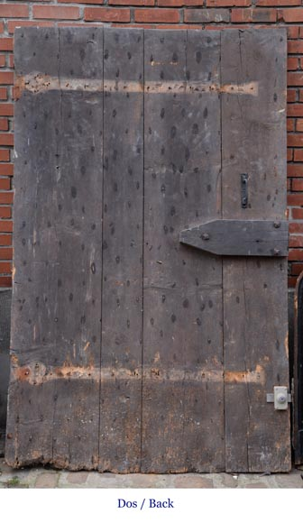 Rare antique door in oak wood with nails, 18th century-7
