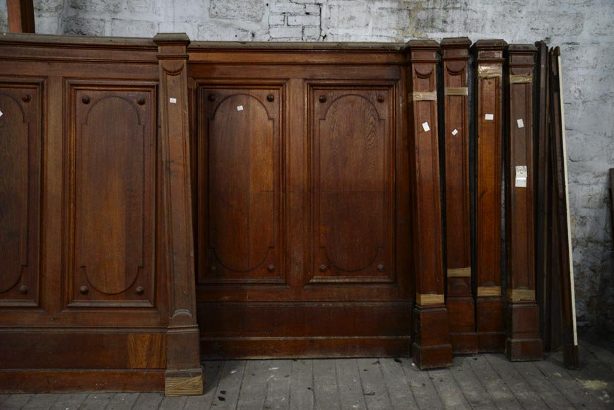 Antique set of carved panels in oak with paneled decor, 19th century-4