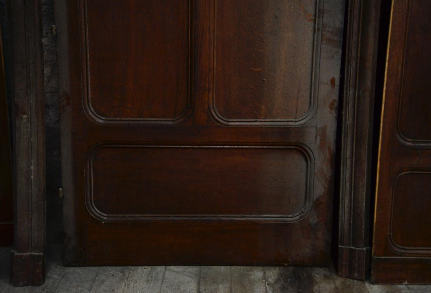 Antique large door in oak with paneled decoration, circa 1900-3