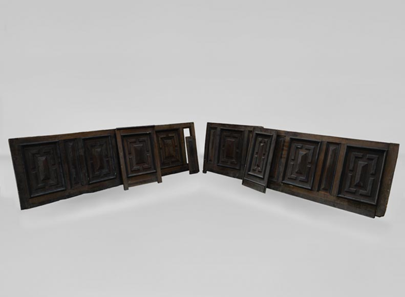 Antique Napoleon III style set of panels in oak and blackened pearwood with paneled decoration-0