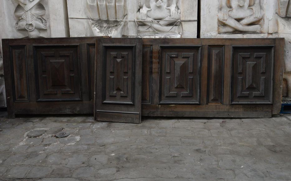 Antique Napoleon III style set of panels in oak and blackened pearwood with paneled decoration-1