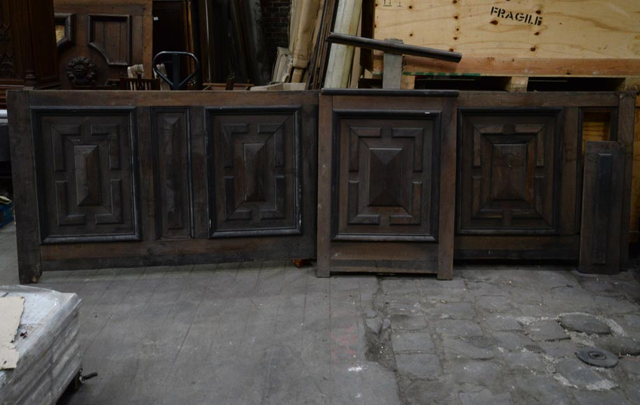 Antique Napoleon III style set of panels in oak and blackened pearwood with paneled decoration-2