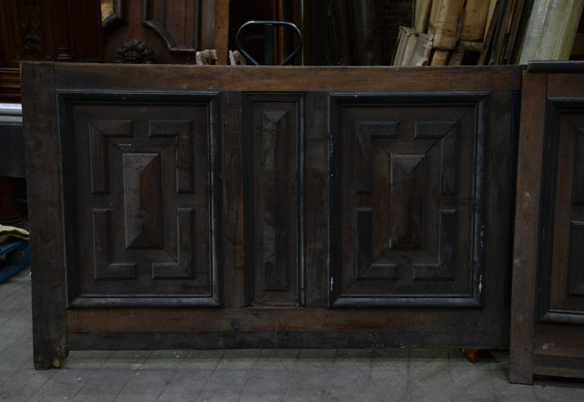 Antique Napoleon III style set of panels in oak and blackened pearwood with paneled decoration-3