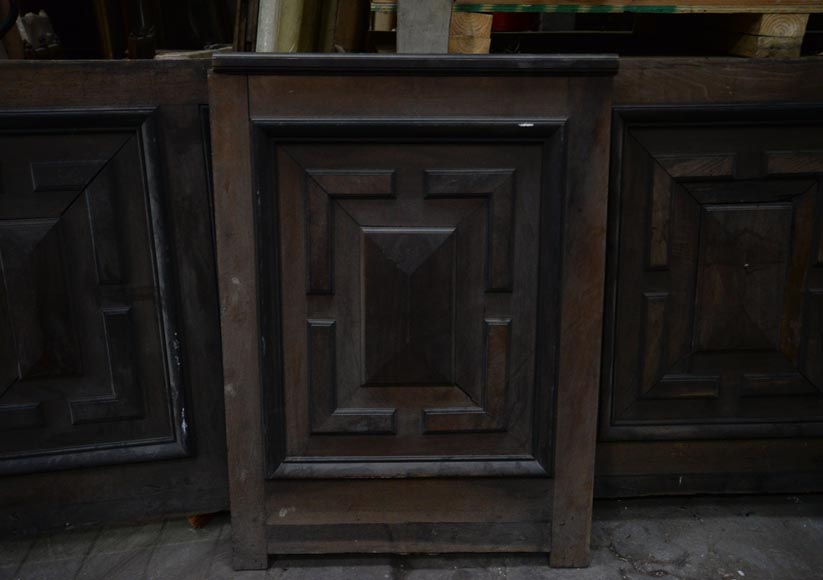 Antique Napoleon III style set of panels in oak and blackened pearwood with paneled decoration-4