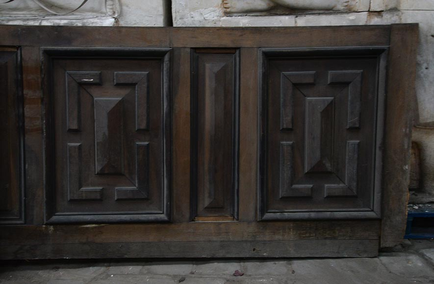 Antique Napoleon III style set of panels in oak and blackened pearwood with paneled decoration-5