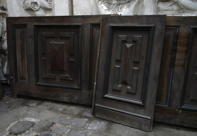 Antique Napoleon III style set of panels in oak and blackened pearwood with paneled decoration-6