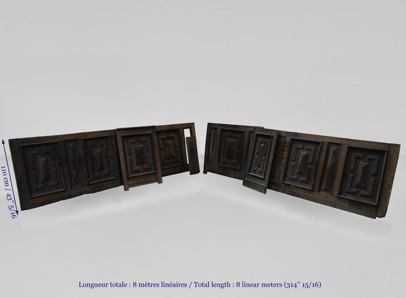 Antique Napoleon III style set of panels in oak and blackened pearwood with paneled decoration-9
