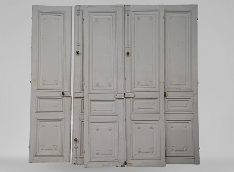 White antique Louis XVI style set of three double doors in wood with paneled decoration and ... & White antique Louis XVI style set of three double doors in wood ...