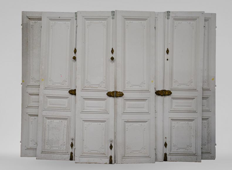 Set of five antique Regence style double doors with their beautiful bronze locks, 19th century-0