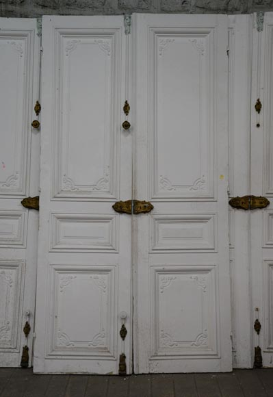 Set of five antique Regence style double doors with their beautiful bronze locks, 19th century-1