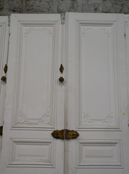 Set of five antique Regence style double doors with their beautiful bronze locks, 19th century-2