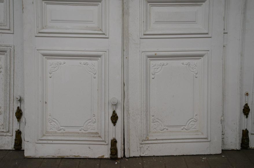 Set of five antique Regence style double doors with their beautiful bronze locks, 19th century-4
