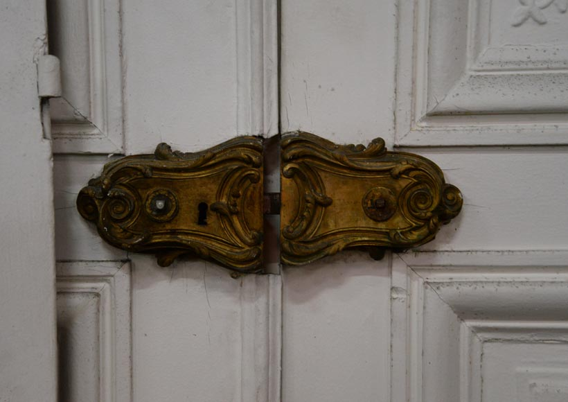 Set of five antique Regence style double doors with their beautiful bronze locks, 19th century-5