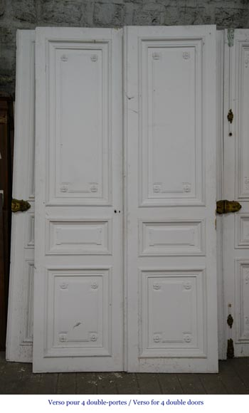 Set of five antique Regence style double doors with their beautiful bronze locks, 19th century-9
