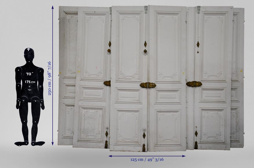 Set of five antique Regence style double doors with their beautiful bronze locks, 19th century-11