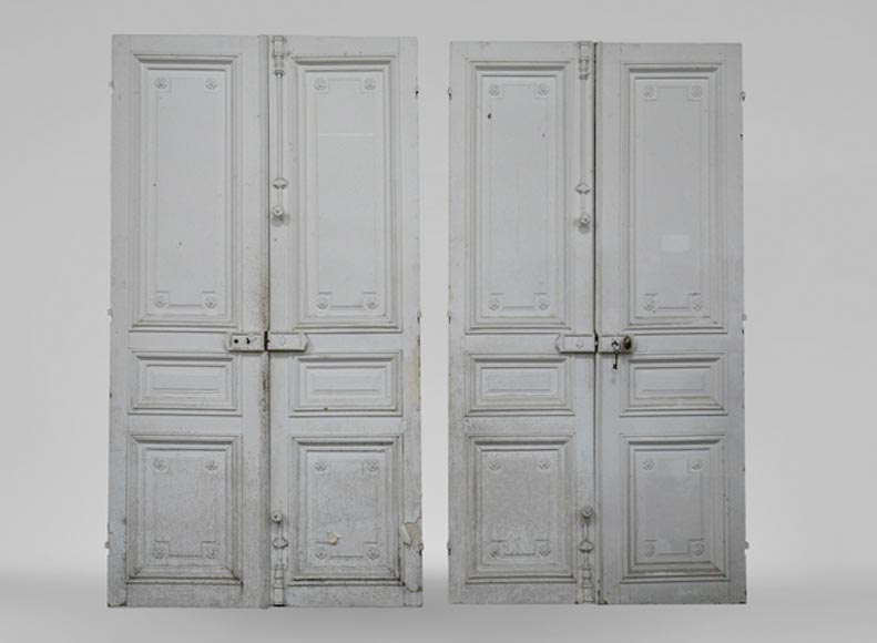 Antique Louis XVI style double door and cupboard double door in wood with rosettes - Reference 3469