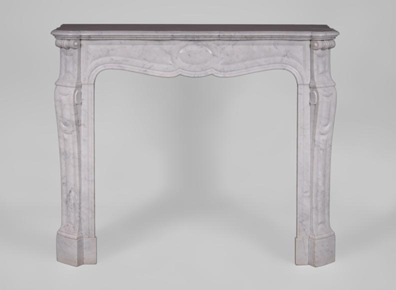 Small antique Louis XV style fireplace, Pompadour model, in Carrara marble - Reference 3472