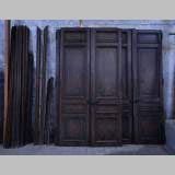 Antique Napoleon III style set of five double doors in walnut with paneled decor