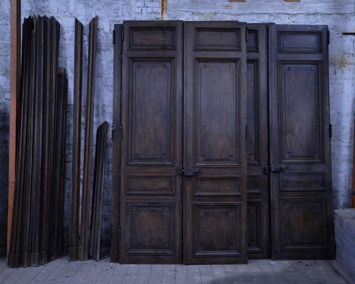 Antique Napoleon III set of five double doors in wood with paneled decor-0